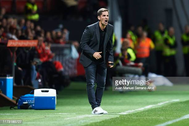 Robert Moreno of Spain gives instructions to his players during the UEFA Euro 2020 qualifier match between Spain and Faroe Islands at Estadio...
