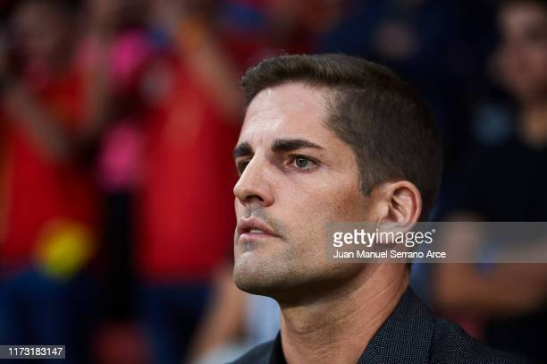 Robert Moreno of Spain looks on during the UEFA Euro 2020 qualifier match between Spain and Faroe Islands at Estadio Municipal El Molinon on...