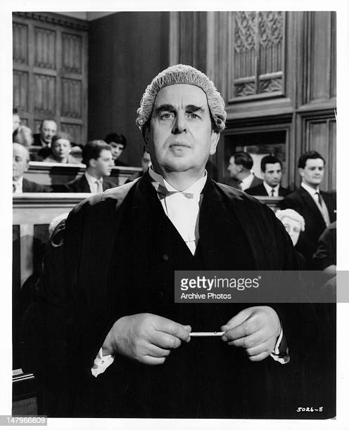 Robert Morley standing up in court in a scene from the film 'Libel' 1959