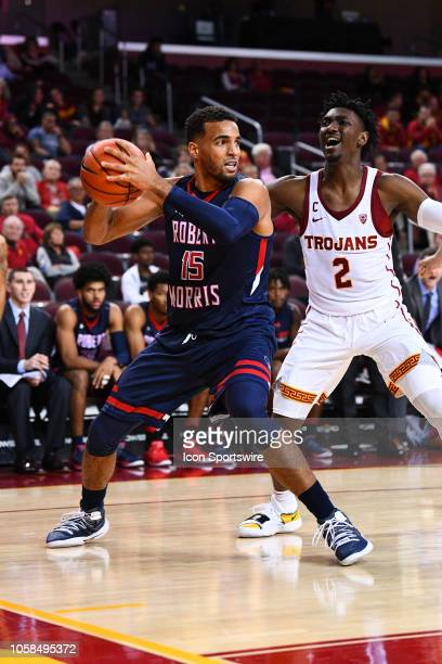 Robert Morris forward Yannis Mendy grabs a loose ball during a college basketball game between the Robert Morris Colonials and the USC Trojans on...
