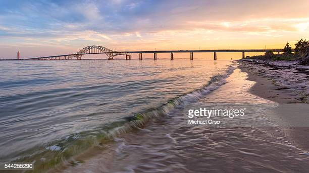 Robert Moses Causeway Bridge Beach Long Island Fire Sunset