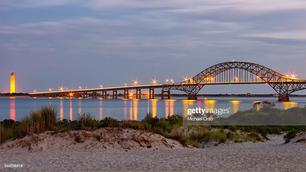Robert Moses Causeway Bridge Beach Long Island Fire Sunset Blue