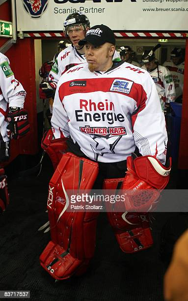 Robert Mueller of Koeln pictured during the DEL match between Fuechse Duisburg and Koelner Haie at the Scania Arena on November 14 2008 in Duisburg...