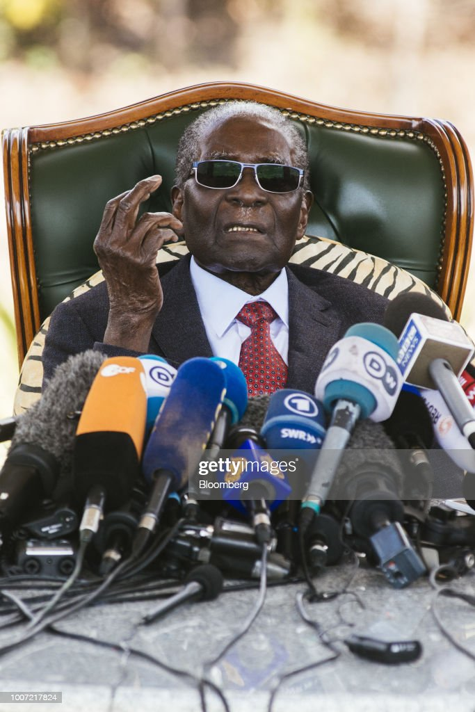 Former President Of Zimbabwe Robert Mugabe Speaks Ahead Of General Election : News Photo