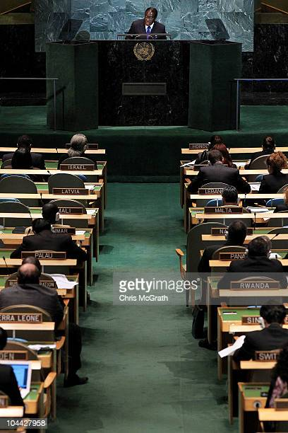 Robert Mugabe President of the Republic of Zimbabwe addresses the 65th session of the General Assembly at the United Nations on September 24 2010 in...