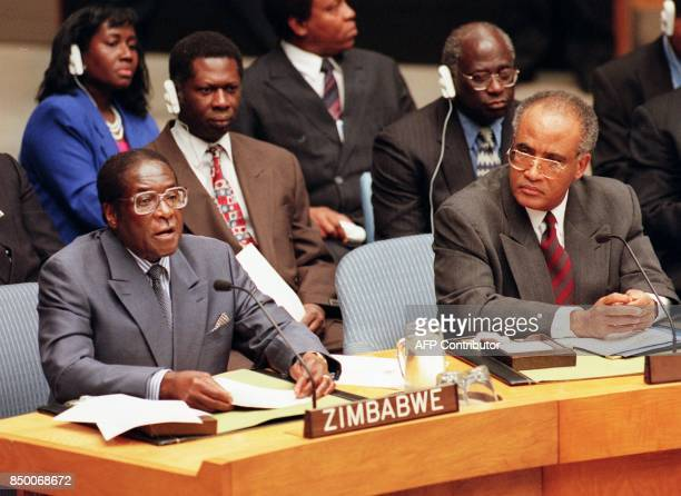 Robert Mugabe President of the Republic of Zimbabwe and current chairman of the Organization of African Unity addresses the United Nations Security...