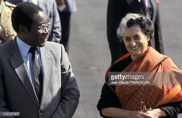 Robert MugabePresident of Zimbabwe and Indian Prime Minister Indira Gandhi at the Summit of Non Aligned in New delhiIndia on July 3rd1983