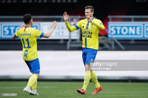 Robert Muhren of SC Cambuur celebrates 0-1 with Giovanni Korte of SC Cambuur during the Dutch Keuken Kampioen Divisie match between Excelsior v SC...
