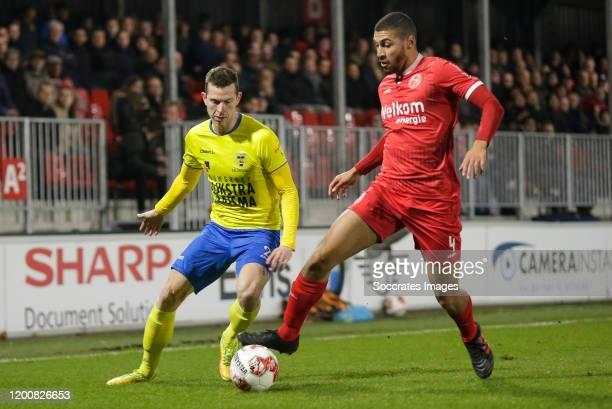 Robert Muhren of SC Cambuur, Radinio Balker of Almere City FC during the Dutch Keuken Kampioen Divisie match between Almere City v SC Cambuur at the...