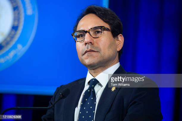 Robert Mujica NY budget director attends a news conference with New York Gov Andrew Cuomo on the COVID19 pandemic at the National Press Club in...