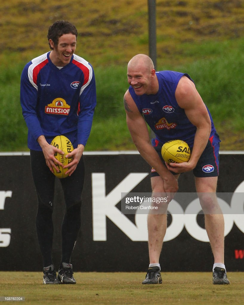 Robert Murphy and Barry Hall of the Bulldogs laugh during a Western Bulldogs AFL media session at Whitten Oval on September 1, 2010 in Melbourne, Australia.