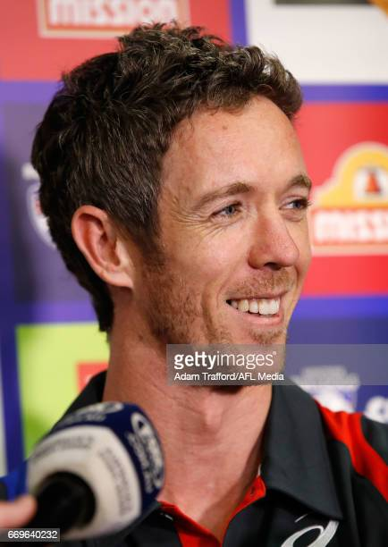 Robert Murphy of the Bulldogs addresses the media during a press conference for his upcoming 300th game at Whitten Oval on April 18 2017 in Melbourne...