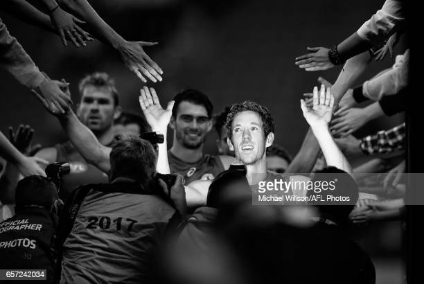 Robert Murphy of the Bulldogs celebrates after the 2017 AFL round 01 match between the Collingwood Magpies and the Western Bulldogs at the Melbourne...