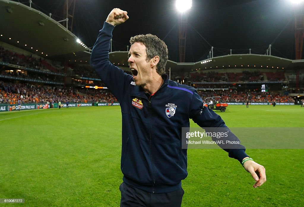 Robert Murphy of the Bulldogs celebrates during the 2016 AFL First Preliminary Final match between the GWS Giants and the Western Bulldogs at Spotless Stadium on September 24, 2016 in Sydney, Australia.