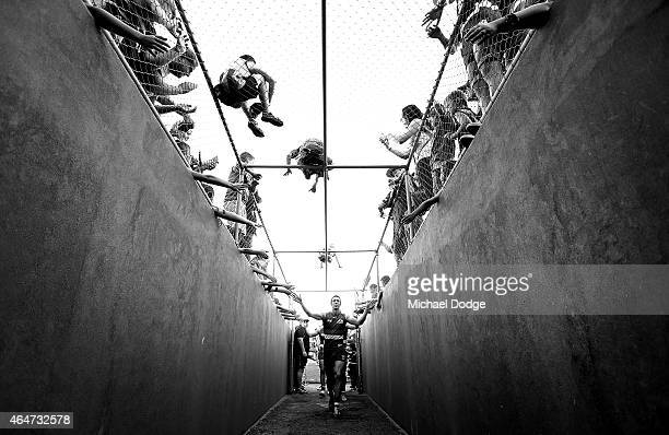 Robert Murphy of the Bulldogs celebrates the win after the game with fans during the NAB Challenge AFL match between the Western Bulldogs and the...