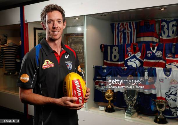 Robert Murphy of the Bulldogs poses for a portrait during a press conference for his upcoming 300th game at Whitten Oval on April 18 2017 in...