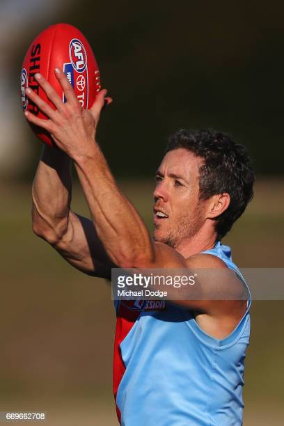 Robert Murphy of the Bulldogs who will play his 300th game this weekend marks the ball during the Western Bulldogs AFL training session at Whitten...