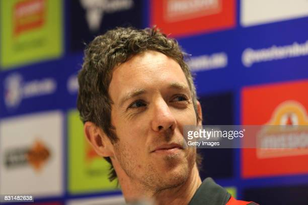 Robert Murphy of the Western Bulldogs announces his retirement from AFL during a press conference at Whitten Oval on August 15 2017 in Melbourne...