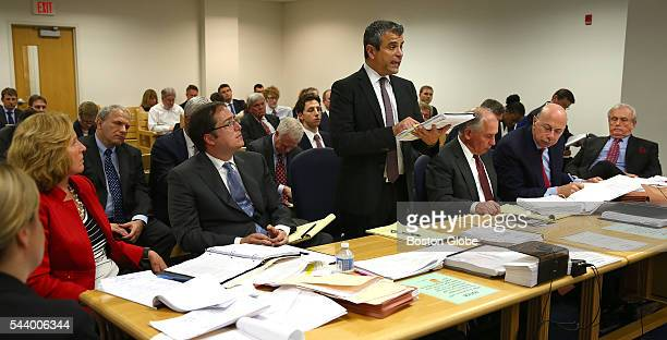 Robert N Klieger attorney for Sumner Redstone center gives rebuttal testimony before Judge George Phelan not pictured Attorneys representing various...