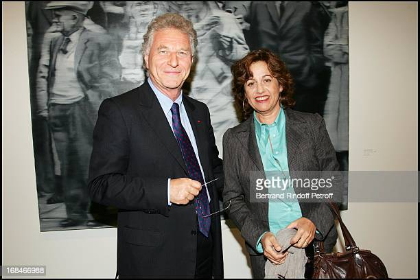 Robert Namias and Anne Barrere in front of the work of Gerhard Richter at Private Viewing Of The Exhibition Where Are We Going In Venice