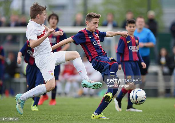 Robert Navarro Munoz of Barcelona in action during the Final of the Santander Cup for U13 teams between FC Barcelona and VfB Stuttgart at Borussia...