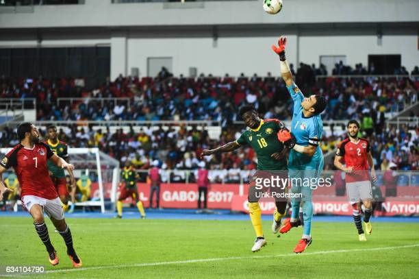 Robert Ndip Tambe of Cameroon and Essam El Hadary of Egypt during the African Nations Cup Final match between Cameroon and Egypt at Stade de L'Amitie...