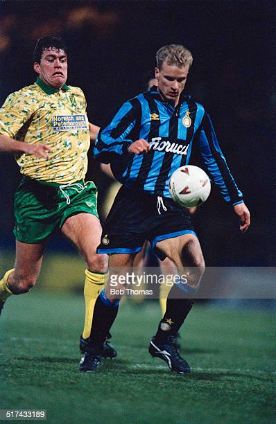 Robert Newman of Norwich City and Dennis Bergkamp of Inter Milan during a UEFA Cup Third round First leg match at Carrow Road Norwich 24th November...