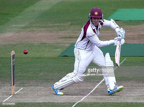 Robert Newton of Northamptonshire hits out during day three of the LV County Championship match between Middlesex and Northamptonshire at Lord's...