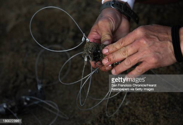 Robert Nguyen places pieces of fish into his homemade snare as the taxi cab driver fishes for Dungeness crab at Baker Beach on Saturday, January 30...