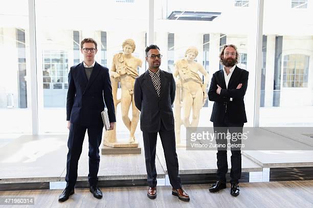 Robert Nicholas Cullinan, Shumon Basar, Cedric Libert attend Fondazione Prada Press Conference on May 2, 2015 in Milan, Italy.