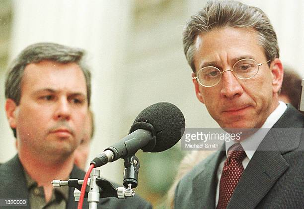Robert Nigh right the lawyer for Oklahoma City bomber Timothy McVeigh speaks outside US District Court in Denver June 7 2001 with fellow McVeigh...