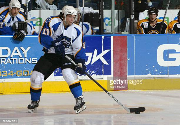 Robert Nilsson of the Bridgeport Sound Tigers skates with the puck against the Providence Bruins at the Arena at Harbor Yard on February 4 2006 in...