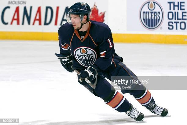 Robert Nilsson of the Edmonton Oilers follows the play during a game against the Los Angeles Kings on February 28 2008 at Rexall Place in Edmonton...