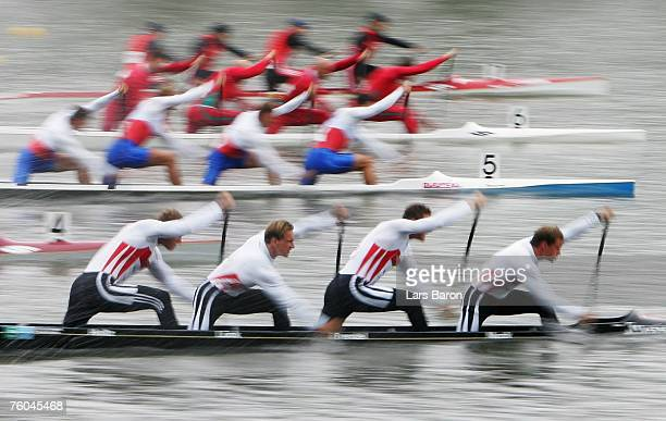 Robert Nuck Sebastian Brendel Thomas Lueck and Stefan Holtz of Germany in action during their C4 1000m qualifying heat during the Canoe World...