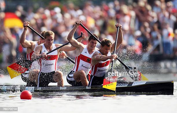 Robert Nuck Sebastian Brendel Thomas Lueck and Stefan Holtz of Germany in action during the C4 500m final during the Canoe World Championship 2007 at...