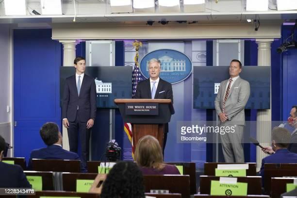 Robert OBrien national security adviser center speaks while Jared Kushner senior White House adviser left and Richard Grenell adviser to US President...