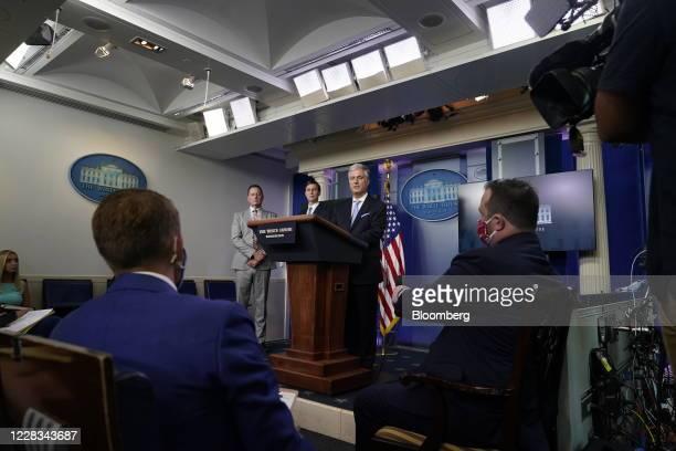 Robert OBrien national security adviser right speaks while Jared Kushner senior White House adviser center and Richard Grenell adviser to US...