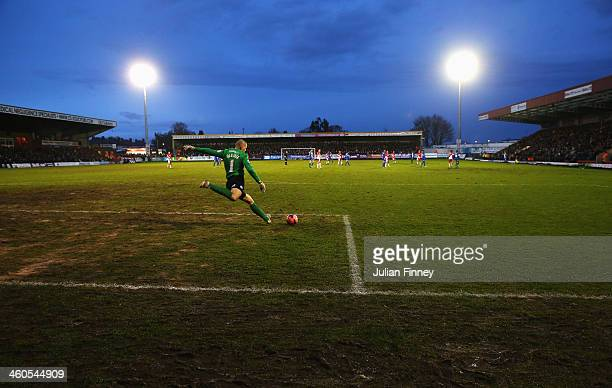 Robert Olejnik of Peterborough United takes a goal kick during the Budweiser FA Cup third round match between Kidderminster Harriers and Peterborough...