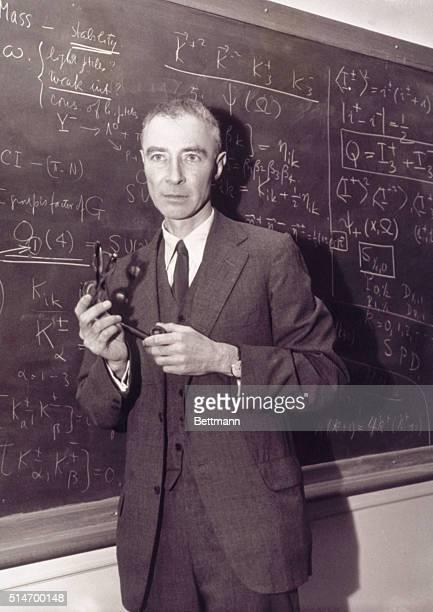 Robert Oppenheimer Standing at Blackboard