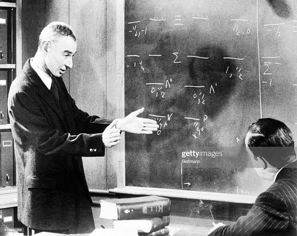 J. Robert Oppenheimer Talking with Edward Murrow : News Photo