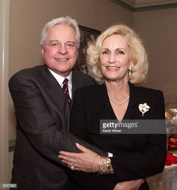 Robert Osborne and Cheryl Crane daughter of Hollywood legend Lana Turner pose together after hosting a lunch highlighting 'Turner Classic Movies'...