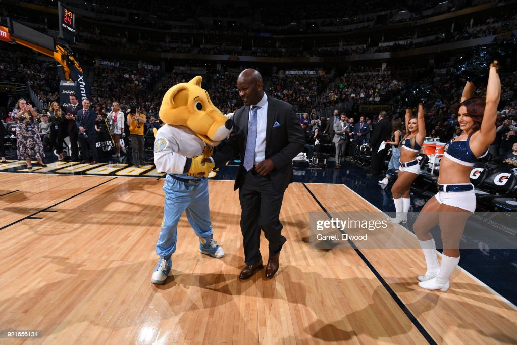 Robert Pack is honored during the game between the Dallas Mavericks and the Denver Nuggets on January 27, 2018 at the Pepsi Center in Denver, Colorado.