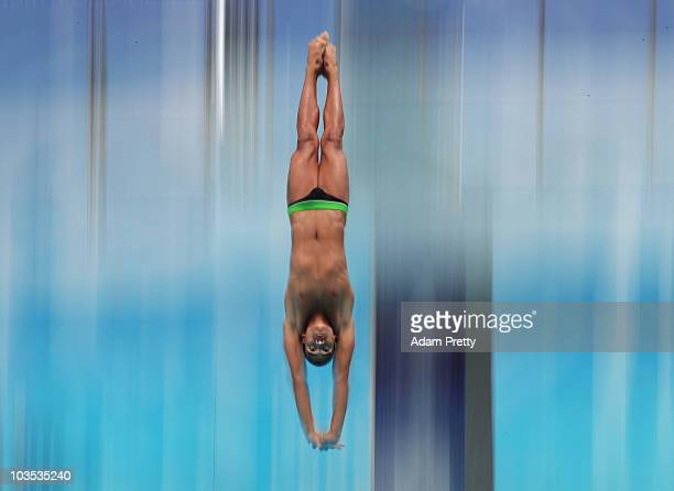 Robert Paez of Venezuela competes in the preliminary of the Youth Mens 3m Springboard diving competition on day eight of the Youth Olympics at Toa...