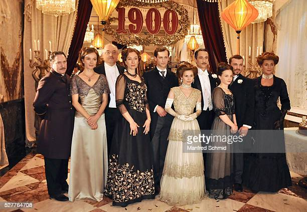 Robert Palfrader Julia Koschitz Karl Fischer Ursula Strauss Francesca von Habsburg and Josefine Preuss pose during a photo call for the film 'Sacher'...