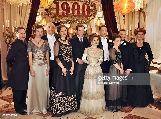Robert Palfrader Julia Koschitz Karl Fischer Ursula Strauss Francesca von Habsburg and Josefine Preuss pose during a photo call for the film 'Sacher'...