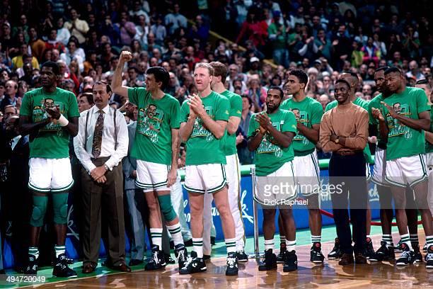 Robert Parish Head Coach Chris Ford Kevin McHale Larry Bird John Bagley Rick Fox Dee Brown Reggie Lewis and the rest of the 1992 Boston Celtics cheer...