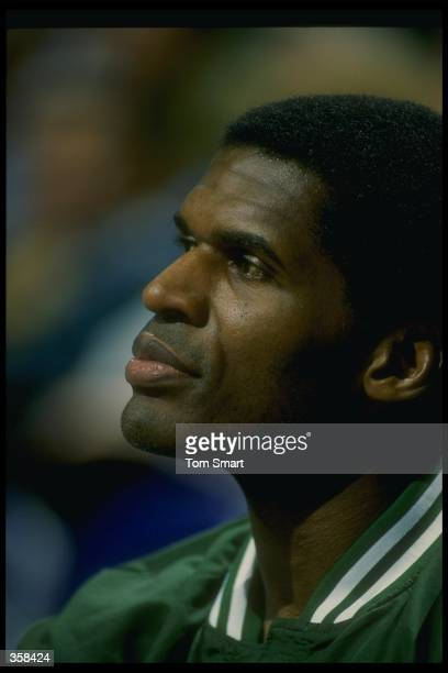Robert Parish of the Boston Celtics looks on during a game against the Utah Jazz at the Delta Center in Salt Lake City, Utah. Mandatory Credit: Tom...