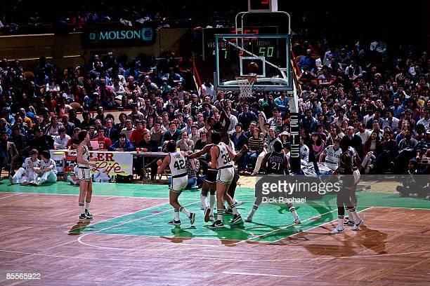 Robert Parish of the Boston Celtics shoots against the New York Knicks during a game played in 1981 at the Boston Garden in Boston Massachusetts NOTE...