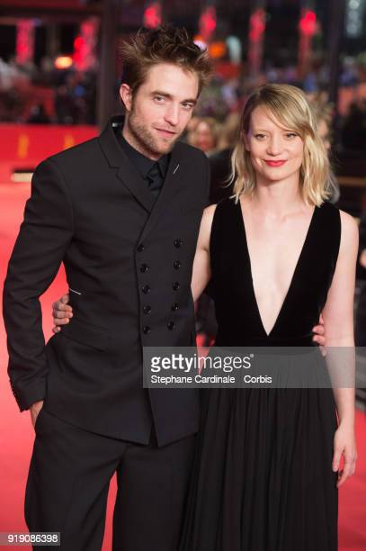 Robert Pattinson and Mia Wasikowska attend the 'Damsel' premiere during the 68th Berlinale International Film Festival Berlin at Berlinale Palast on...
