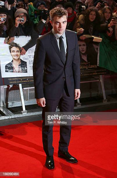 Robert Pattinson attends the UK Premiere of 'The Twilight Saga Breaking Dawn Part 2' at Odeon Leicester Square on November 14 2012 in London England